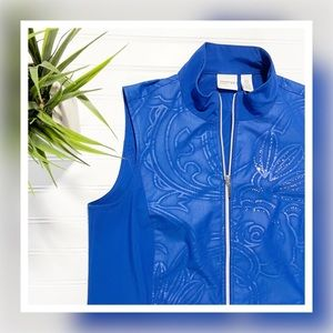 Zenergy by Chico's Blue Neema Embossed Zip Up Vest